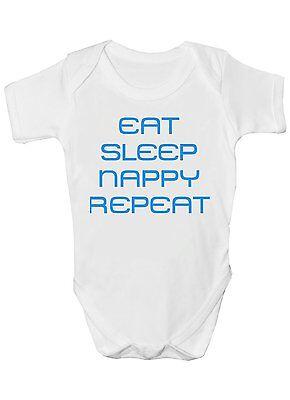 Di Larghe Vedute Eat Sleep Pannolino Ripetere Divertente Babygrow Gilet Bambino-mostra Il Titolo Originale Elegante Nello Stile