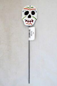 Day-of-the-Dead-Halloween-Skeleton-Skull-Floral-Garden-Stake-Metal-Mask-Pic