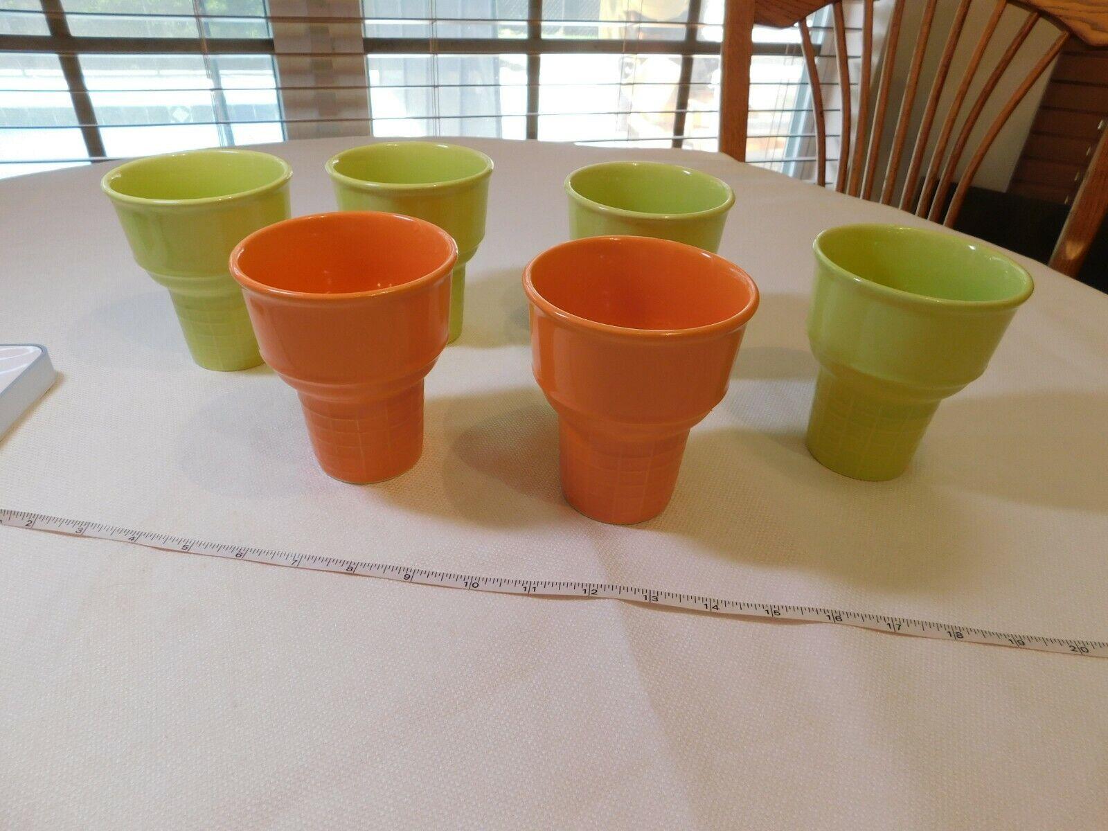 Farberware Dinnerware RARE Grün Orange ice cream cone cups sundaes scoop set 6
