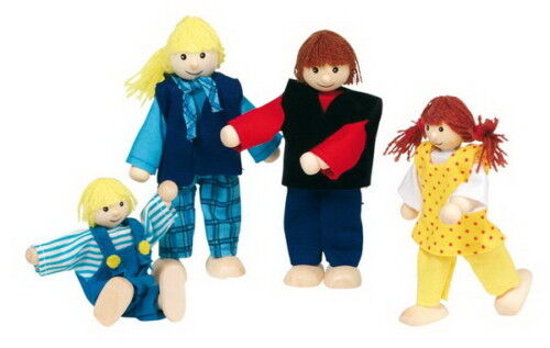 "GOKI 51955 biegepuppen set /""joven familia/"" para casa de muñecas madera nuevo #"