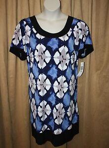 Womans-Helene-Blake-Size-1X-Short-Sleeve-Dress-Stretch-Round-Neck-Line-NEW