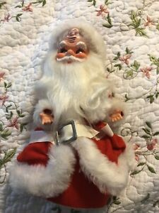 Vintage Santa Musical Silver Bells Plush Rubber Face Wind Up Toy Dancing Doll