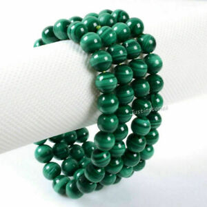 8MM-Natural-Malachite-Round-Beads-Stretch-Bangle-Charm-Bracelet-Handmade-Gift
