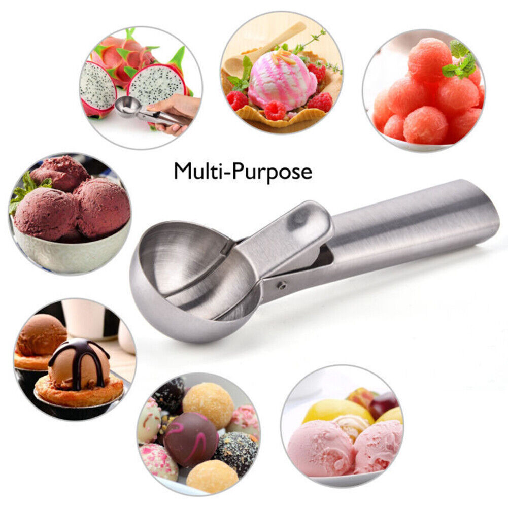 Stainless Steel Ice Cream Scoop with Trigger Fruit Dipper Spoon Kitchen Tool Hot