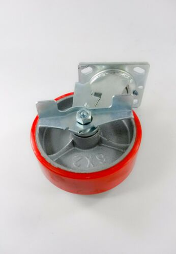 "2EA - Rigid 2EA /& Swivel with Brake Red 5/"" x 2/"" Polyurethane On Cast Iron"