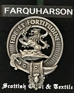 Details about Farquharson Scottish Clan Crest Badge Pin Pewter