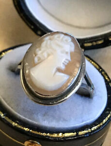 Vintage-Silver-800-Cameo-Ring-Size-K