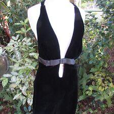 Vintage 60s SEX Kitten MOD Pin Up Girl Black Velvet Halter Dress Cocktail Small