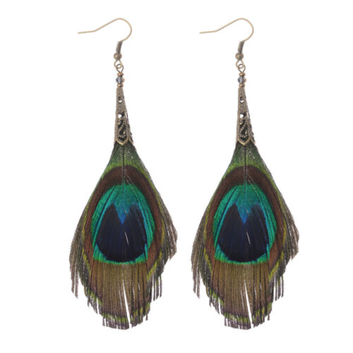 Vintage Women Bohemian Boho Multicolor Owl Peacock Feather Drop Dangle Earrings