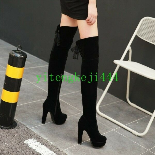 Damen Overkneestiefel Overkneestiefel Overkneestiefel Blockabsatz wildleder High Heels Stiefel Stretch-Stiefel 43  | Schnelle Lieferung  ed9917