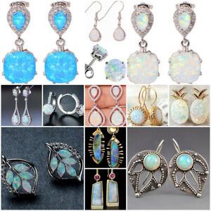 Fashion-Women-925-Silver-Opal-Dangle-Drop-Earrings-Ear-Hook-Stud-Jewelry-Gift