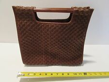 FOSSIL LADIES STRAW WEAVE SQUARE BAG W WOODEN HANDLES 12,5X11X5 COMPARTMENTS 4