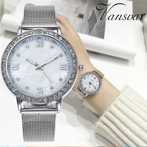 Luxury-Women-039-s-Crystal-Diamonds-Stainless-Steel-Quartz-Analog-Dial-Wrist-Watches