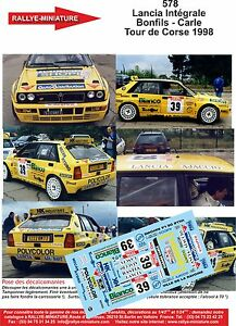 DECALS-1-18-REF-578-LANCIA-DELTA-INTEGRALE-BONFILS-TOUR-DE-CORSE-1998-RALLYE-WRC