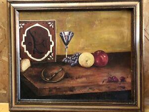 Mid-Century-Impressionist-Still-Life-Oil-on-Canvas-Signed