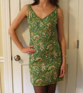Vintage-1960s-Beaded-amp-Sequin-Green-Pink-Blue-Floral-Lillie-Rubin-Wiggle-Dress