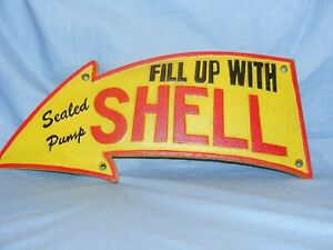Shell Sign Cast Iron Arrow Advertising Sign Garage Man Cave Wall Gate Fence Sign