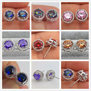 18K-White-Gold-Filled-Round-MYSTICAL-Pink-Topaz-Amethyst-Ruby-Earrings-7-Color