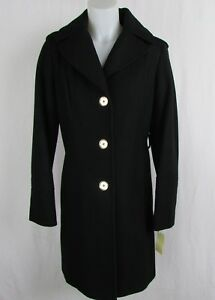Michael-Kors-Women-039-s-Black-Long-Wool-Blend-Hooded-Coat