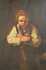 """ESTATE FIND Quality """"Rembrandt"""", """"Girl With A Broom"""" Reproduction Oil on Canvas"""