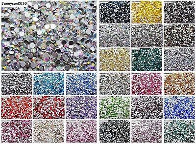 1440Pcs Top Quality Czech Crystal Round Rhinestones Flatback No Hotfix Nail Art