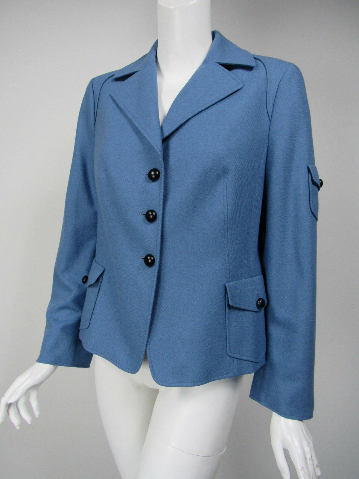 AKRIS PUNTO Cornflower bluee Wool Angora Button Blazer D 42 US 12