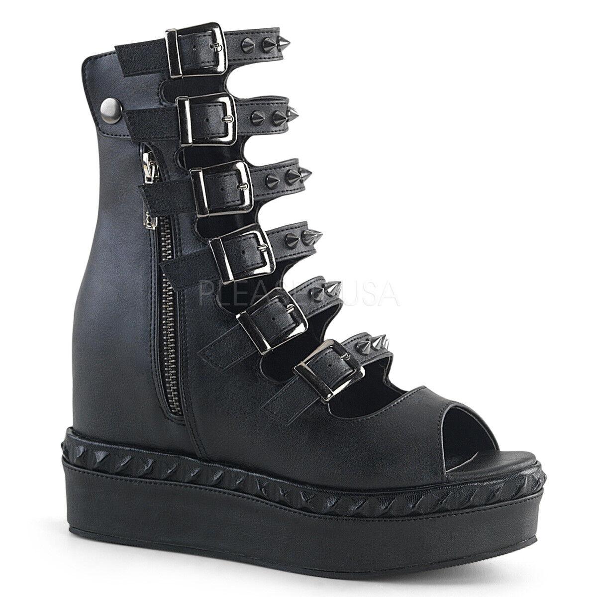 Demonia Veneno - 110 110 110 para Mujeres Cuero Negro Vegano Cuña Plataforma botas al tobillo  comprar descuentos