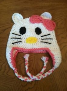 New Handmade Hello Kitty Inspired Crochet Hat In All Sizes Ebay