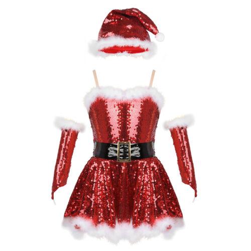 Christmas Santa Dance Costume Kid Girl Xmas Elf Skating Dress Helper Tutu Skirt