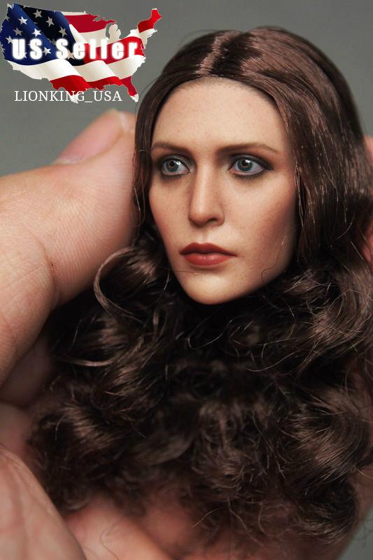1 6 Elizabeth Olsen Scarlet Witch Head Sculpt For 12  Hot Toys Phicen Figure USA