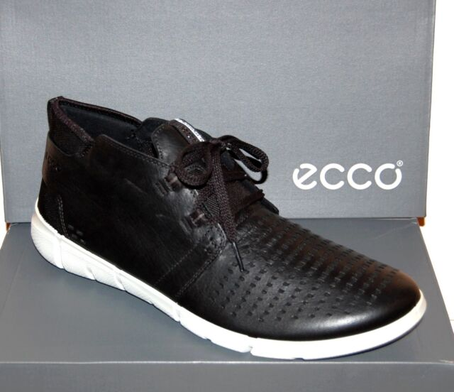 094bc0ca7bf6 Ecco Men s Black White Sole Mid Cut Lace Sneakers Shoes Boots US 12 12.5 EU  46