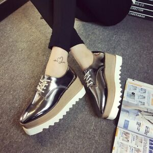 Womens-Wedge-Heels-Platform-Shoes-Lace-Up-Patent-Leather-Creepers-Oxfords-Size-8