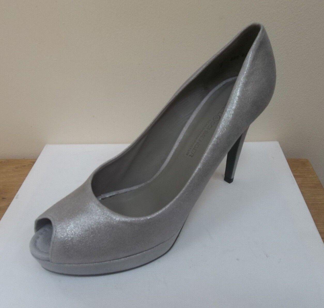K&S Gia Grau-silver suede peep toe platform courts, UK 8/EU 41,   BNWB