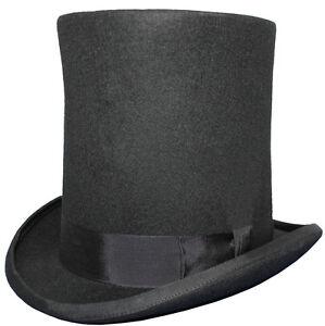 100-Lana-High-Top-Lincoln-Estufa-Tubos-Hand-Made-Sombrero-De-Fieltro-Negro