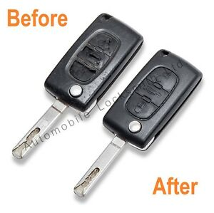 repair service for citroen c1 c2 c3 c4 c5 c6 2 button remote flip key berlingo ebay. Black Bedroom Furniture Sets. Home Design Ideas
