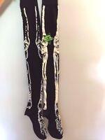 Glow In The Dark Over The Knee Skeleton Socks Halloween Costume Brand