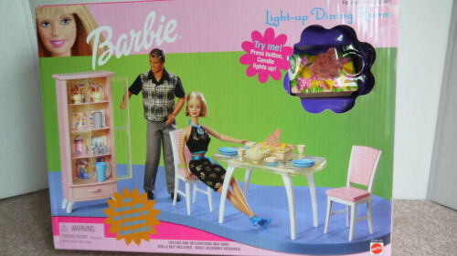 Barbie Doll Light Up Dining Room Playset 1999 NRFB #67551 Table Chairs FREE SHIP
