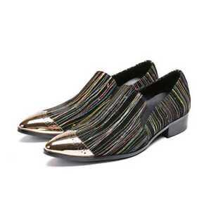 Sz de hommes Slip Chaussures bas mode Nouveaux à Talons en la On Business Party cuir rayures thdCxsQr
