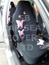 i - TO FIT A TOYOTA AYGO CAR, SEAT COVERS, HIGH BACK, PINK BUTTERFLY