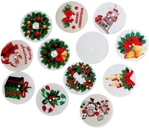 50 Stück Holzknöpfe Rund Muster Weihnachten Farben Mix Durchmesser 35mm 2 Löcher