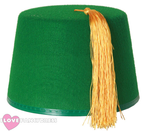 ADULT GREEN FEZ HAT WITH GOLD TASSEL MOROCCAN FANCY DRESS COSTUME ACCESSORY