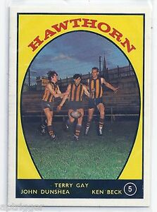1968 A Scanlens # 5 Terry GAY, John DUNSHEA, Ken BECK Hawthorn Near Mint