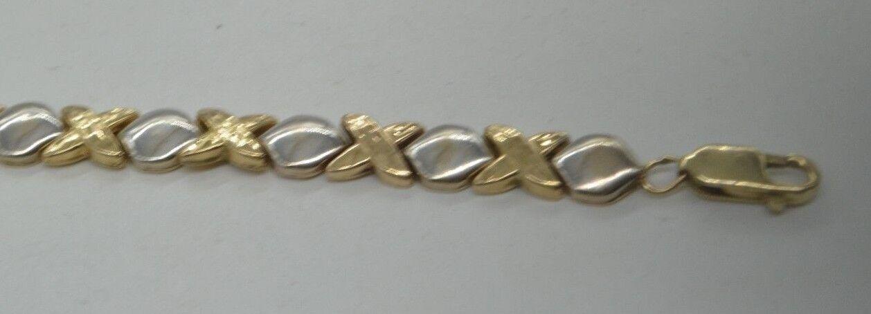 90847fb2d825b BW89 14 K YELLOW gold VINTAGE TWO TONE X & O BRACELET ...