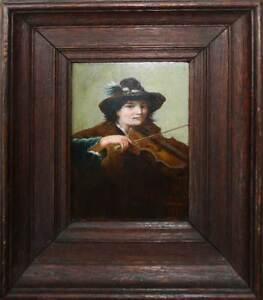 Superbe-tableau-1890-signe-le-jeune-joueur-de-violon-type-campagnard-cadre