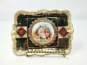 Antique-19c-Ackermann-amp-Fritze-Royal-Vienna-Hand-Painted-Portrait-Plate