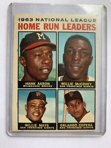 Details About Topps 1963 National League Home Run Leaders Hank Aaron Willie Mays Baseball Card