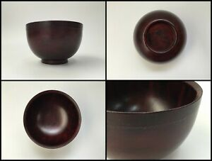 Japanese-Wooden-Bowl-Vintage-Signed-Lacquer-Ware-Hand-Made-Red-Black-Z027