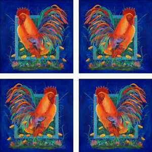 Rooster-Art-Accent-amp-Decor-Tile-Set-Susan-Libby-Ceramic-SLA004ATSet