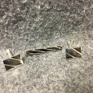 Swank Sterling Silver Tie Bar Chain Guard Clip Estate Find Unisex Jewelry