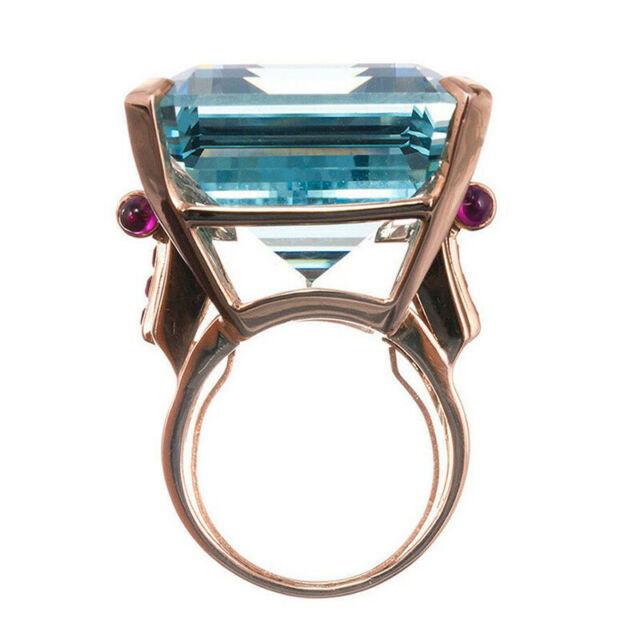 Big CZ Cubic Zircon Stone Rings 1PC Size 6 7 8 9 10 Blue Rose Gold Color   eBay